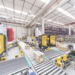 Automatic system with picking zones, material handling for boxes and packing area